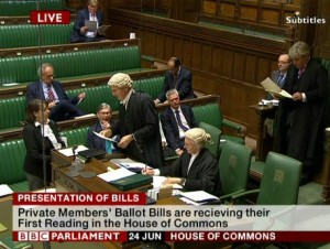 Teresa presenting her Private Members' Bill in the House of Commons.